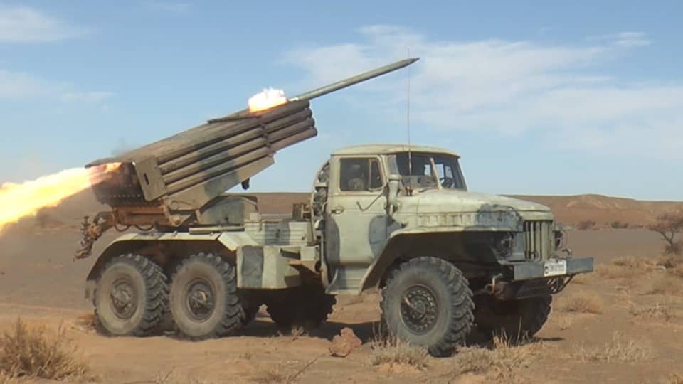 """shelling-of-the-""""polisario""""-destroys-an-ammunition-depot-for-the-""""bm21""""-missile-launcher-in-the-al-mahbas-sector"""