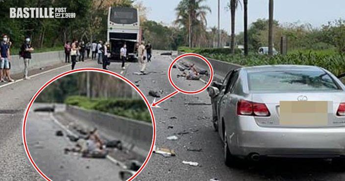 天水圍4車連環相撞-鐵騎士撞飛數米外倒地受傷